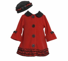 Infant Girl's Red Fleece Black Trim Hat Coat Set
