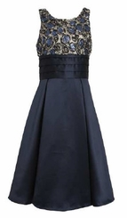 Girls Size 7 Dress  Navy Bonaz to Satin Dress  LAST ONE FINAL SALE