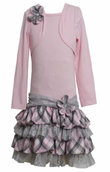 Girl's Pink Plaid Tiered Mock Dress SIZE 16 - OUT OF STOCK