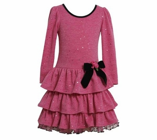 Girl's Special Occasion: Pink Sparkle Drop Waist Tiered Dress