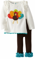 Girl's Thankgiving Outfits: Mud Pie Turkey Applique Baby Girl's Legging Set
