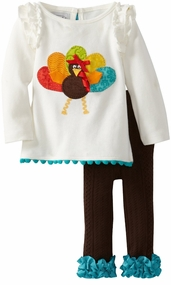 Girl's Thankgiving Outfits: Mud Pie Turkey Applique Baby Girl's Legging Set - SOLD OUT