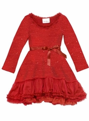 Girls Red Christmas Holiday Dress