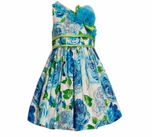 Girls 4- 6X Floral Blue One Shoulder Glitter Dress R26180  FINAL SALE