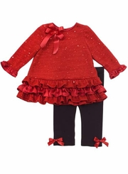 Rare Editions Christmas Holiday Red Glitter Girls Christmas Outfit