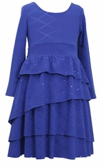 Girls 7-16 Dress : Royal Blue Spangle Dress