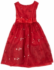 Girls Beautiful Sequined Red Dress And Cardigan  - sold out