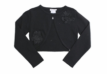 Girls Black Cardigan Sweater : Black Beaded Cardigan
