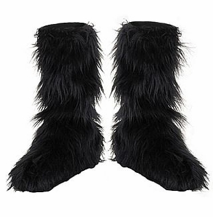Girls Black Furry Boot Covers