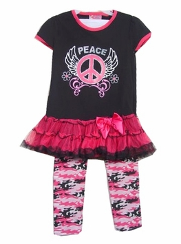 Girls Black Peace Sign  Tunic - Camo Legging Set  SOLD OUT