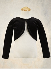 Girls Black Stretch Velvet Bolero