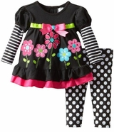 Girls Black Stripe and Dot Flower Applique Legging Set
