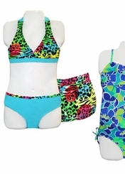 Girls Blue Leopard Bikini and Board Short Set
