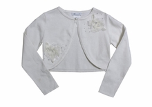 Girls Cardigan Sweater : Beaded Ivory Cardigan