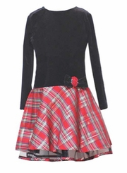 Girls Christmas Dress - Black Velour/ Red Tartan Holiday Dress