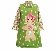 Girls Christmas Dress -  Green Fleece Gingerbread Man Dress - Out of Stock