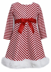 Girls Christmas Dress Holiday Red Chevron Sequined Dress 2T- 16