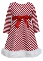 Girls Christmas Dress Holiday Red Chevron Sequined Dress
