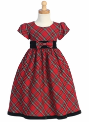 Girls Christmas Dress - Red Holiday Plaid
