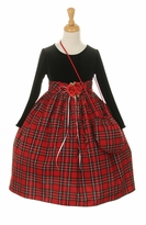 Girls Christmas Dress - Tartan Dress with Purse