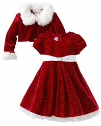 Girls Christmas Dress Velvet Sparkle Dress with Jacket