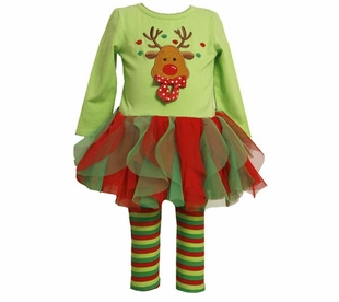 Girls Christmas -  LIttle Wavy Ruffle Reindeer Tutu Tunic Set - SOLD OUT