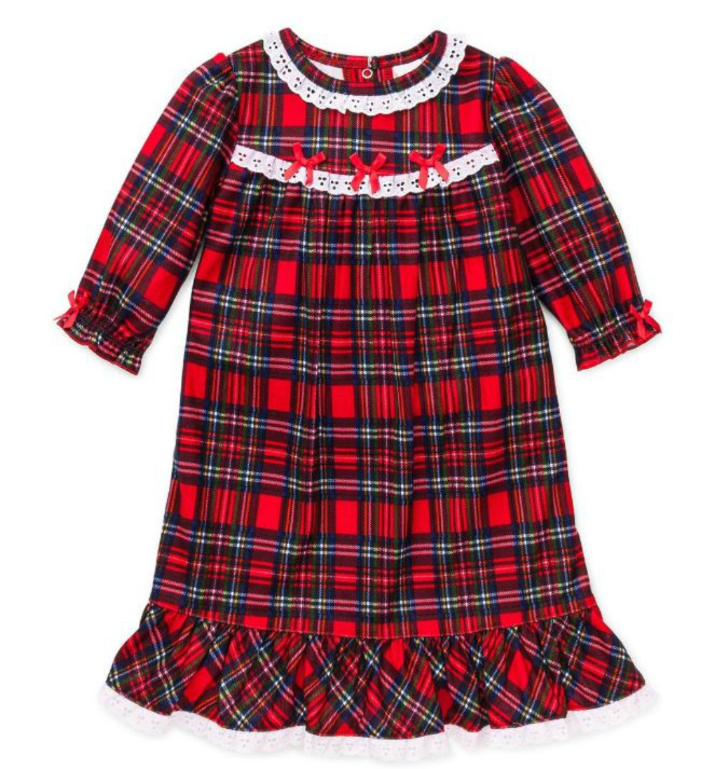 Little Me Girls Christmas Pajamas - Toddler Red Plaid Nightgown 4T at Sears.com
