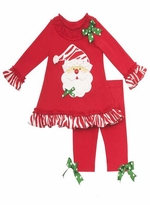 Girls Christmas Red Zebra Santa Tunic Pant Set