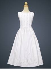 Girls Communion Dress - Satin Bodice with Lace & Pearls