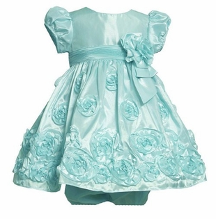 Girls Dress by Bonnie Jean ~ Aqua Taffeta Soutache  SOLD OUT