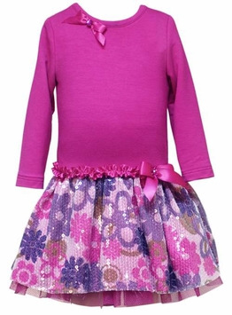 Girls Dress - Fuchsia Sparkle Floral Tulle  2T - 6X