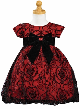Girls Dress - Red and Black Embroidered Tulle  SIZE 6