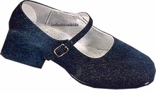 Girls Dress Shoes - Black Fine Glitter