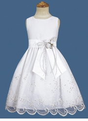 Girls Dresses - White Formal Dress with Sash & Flower