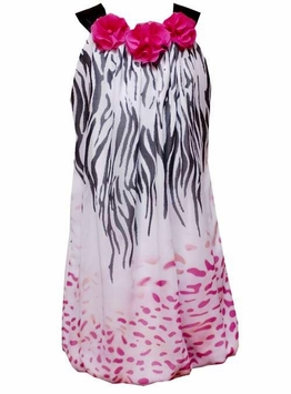 Girls Dresses - White with Zebra Print Bubble Dress  sold out