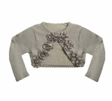 Girls Cardigan Silver Lurex Rosette Cardigan