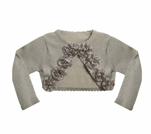 Girls Cardigan Silver Lurex Rosette Cardigan SOLD OUT