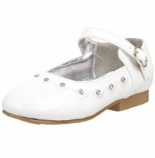 Girls Dressy White Shoes - Flats with Rhinestones