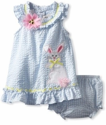 Baby Easter Dress  - Periwinkle Seersucker Dress With Bunny Applique FINAL SALE