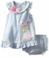 Baby Easter Dress  - Periwinkle Seersucker Dress With Bunny Applique