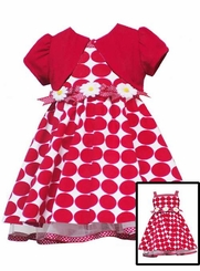 Girls Size 12 -  Red Daisy Cardigan Dress  FINAL SALE
