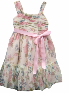 Girls Easter Dress  - Soft Pink Floral Shirred Dress - Size 4 - 12