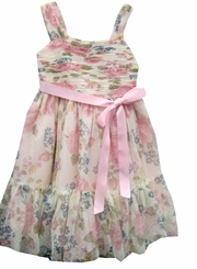 Girls Floral Shirred Dress - Size 4 - 12  FINAL SALE CLEARANCE