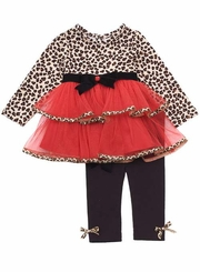 Girls Fall -  Rouge Leopard Tiered Tulle Pant Set