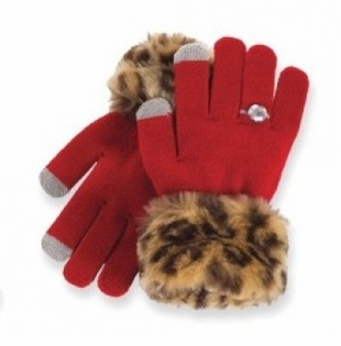 Girls Faux Fur Trim Texting Gloves - RED - ONE LEFT!!