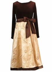 Girls Formal Dress - Gold &  Brown Velvet  SOLD OUT
