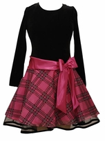 Girls Fuchsia and Black Hipster Dress with Fuchsia Bow