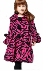 Girls Fuchsia Zebra Print Coat  SIZE 4 LAST ONE CLEARANCE