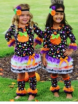 Girls Halloween Pumpkin Dot Dress