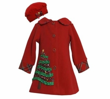 Girls Holiday Coat and Hat Set - Red Coat with Christmas Tree and Matching Hat